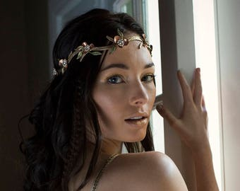 Wedding hair circlet, bridal flower crown, halo - Lark Song No. 2253