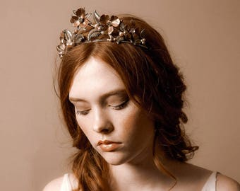 Wedding tiara, floral crown, upright flower crown - Primrose no. 2219