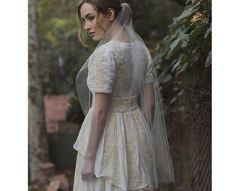 "Fingertip mantilla 40"" cut edge bridal veil - Style no. 2115"