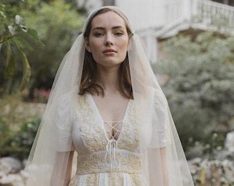 Juliet Cap bridal veil, boho wedding veil, blusher veil - Fanny no. 2119