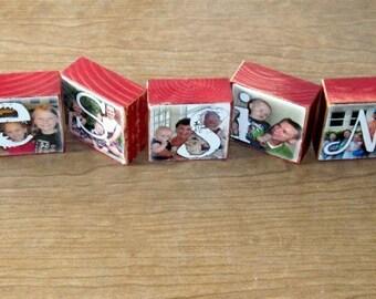 BLESSINGS Photo Blocks SET OF 9 Letter Blocks flat rate shipping