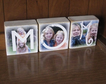 MOM photo letter blocks for MOTHER'S DAY- set of 3