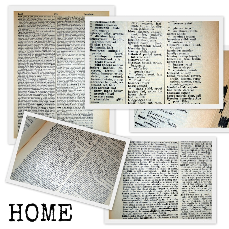 PRiNTABLE Dictionary Pages- FAMiLY HoME LoVE instant download- PDF- JPG-  DIY- large format files