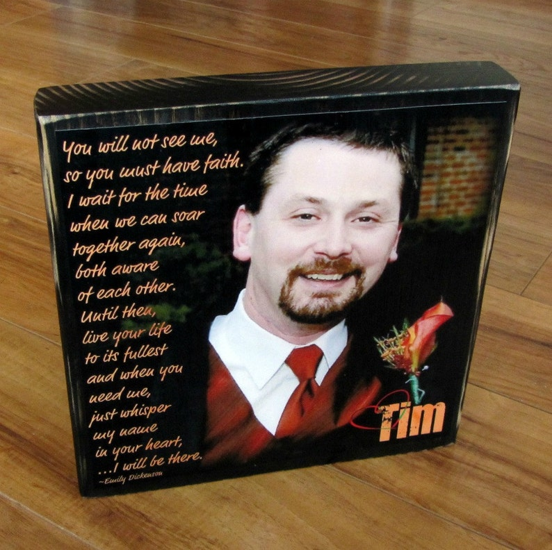 XL Personalized Photo Blocks Custom made to order with poem quote or scripture Remembrance block