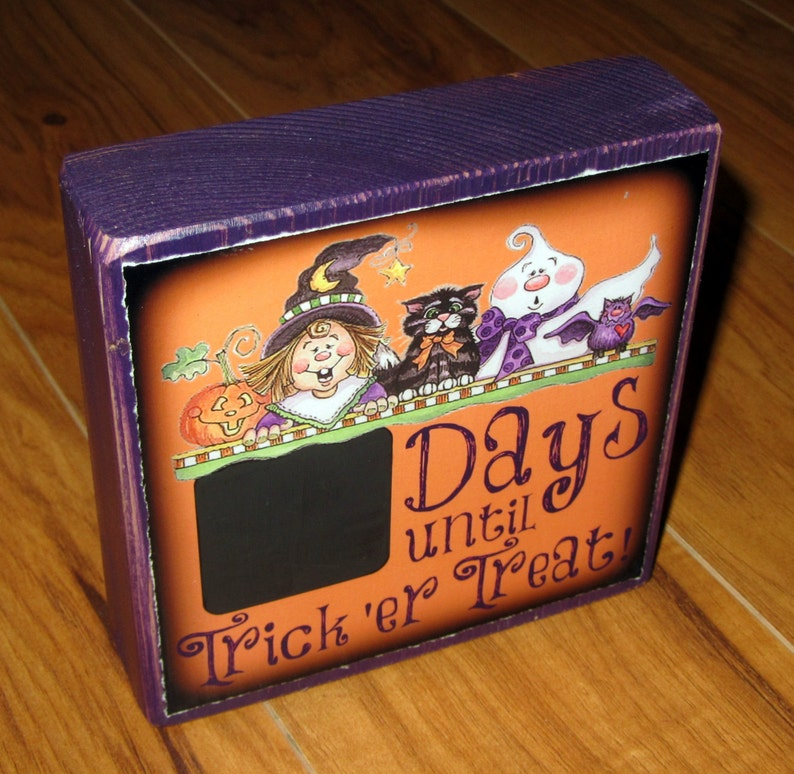 COUNTDOWN to HALLOWEEN or Trick or Treat per block price large size Chalkboard Photo Letter Blocks