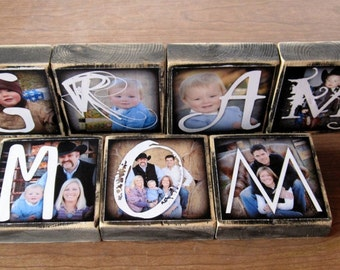 GRAM Personalized Photo Blocks instead of a card- set of 4 LaRGE- custom made with Love for Gram