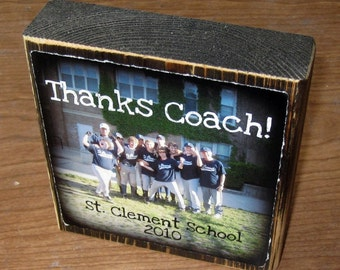 Personalized gift- TWO Larger Photo Letter Blocks- GRADUATION thanks coach TEACHER Gift