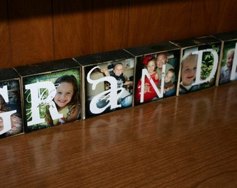 Personalized Photo Letter Blocks- set of 7 blocks- GRANDMA Grandpa GRAMMIE Blessed FRIENDS