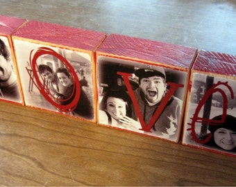 FATHER'S DAY- Photo Letter Blocks instead of a card- Love Home Papa set of 4