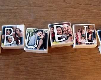 PERSONALIZED Photo Letter Blocks- ABUELA- set of 6- personalized gift