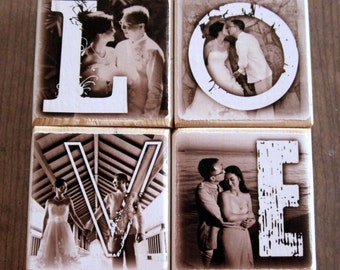 PERSONALIZED Photo Blocks instead of a card- LOVE- set of 4