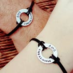 Set of 2, Personalized Couples Bracelets, Engraved, Date, Leather, Washer, Gift for Him, Anniversary, Couples Gift, Matching Bracelets Set