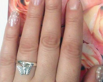 Dainty Butterfly Charm Ring, Silver Plated, Adjustable