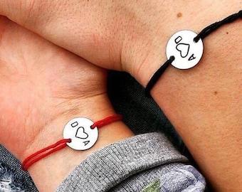 Couple Bracelet, Initial Bracelet, Engraved Bracelet, Monogram, Disc Bracelet, Personalized Bracelet, Charm Bracelet, Gift, 1 Bracelet