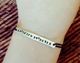 Coordinates Bracelet, Couples Bracelet, Engraved Bracelet, Aluminum, Cord Bracelet, Handmade, Gift,  Custom, Handstamped, Adjustable String