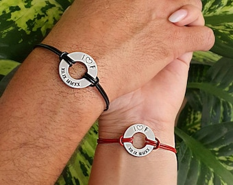 Set of 2 Personalized Engraved Couples Bracelets, Date Leather Washer His and Hers Anniversary, Couples Gift, Matching Set, Boyfriend Gift
