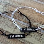 Set of 2, Couple Bracelets, Engraved Bracelet, Roman Numerals, Date, Custom, Anniversary, Couples Gift, Matching, Memorial, Wedding Date