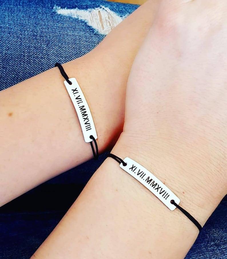 Set of 2 Personalized Couple Bracelets Engraved Roman Aluminum