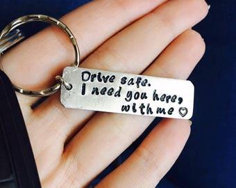 Personalized Keychain, Drive Safe, Boyfriend Gift, Aluminum, Couples Keychain, Engraved Keychain, Husband Gift, Boyfriend Gift