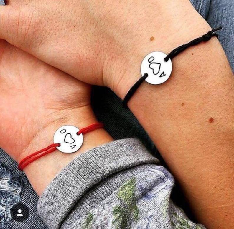 Couple Bracelet Initial Bracelet Engraved Bracelet image 0
