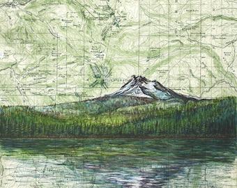 Mt Jefferson from Olallie Lake art, Mount Jefferson painting print Mountain illustration, Oregon mountain print, mountain art map art