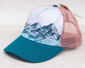 Mountain Range Trucker Hat, Round brim trucker hat, Pink and Teal Blue mountain layer flat hat, trail running trucker hat, hiking hat Teal