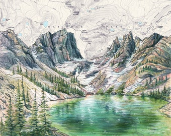 Emerald Lake art, Rocky Mountain National Park Colorado painting print, Colorado wilderness print, hiker mountain hiking art, nature map art