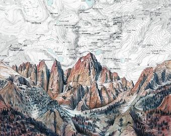 Mt. Whitney painting print illustration, Mount Whitney California climber print, hiker wilderness summit climbing art, John Muir map art