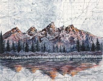 Grand Teton art, Grand Tetons National Park painting print, Wyoming wilderness print, hiker mountain hiking art, nature map art