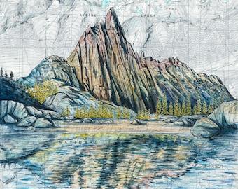 Enchantments Prusik Peak wall art, The Enchantments painting print illustration, Washington mountain print alpine lake mountain art map art