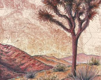 Joshua Tree Art, Joshua Tree National Park painting print illustration, California desert print, hiker wilderness art, desert map art