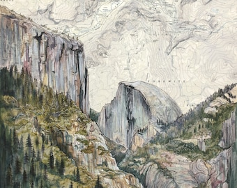 Yosemite Art, El Capitan Half Dome painting print illustration, California climber print, hiker wilderness climbing art, climber map art