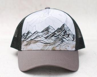 Mountain Range Trucker Hat, Round brim trucker hat, mountain layer flat hat, trail running trucker hat, outdoor hiking hat, Brown Scree