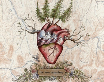 The Love Runs Deep, Heart art on topo map, 8 x 10 art print, hikers illustration,  trail runner painting, Mountain Love, anatomical heart