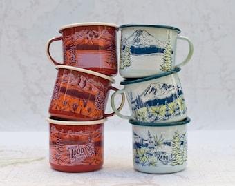 Mountain Enamel Camping Mug, Mt Hood Mt Rainier enamel mug, 16oz PNW camper mug, fireproof backpacking cup coffee mug tea cup
