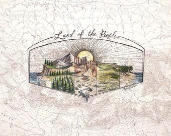 Land of the People, Protect Public Lands art, Mountain, Desert, Coast print, US public lands painting