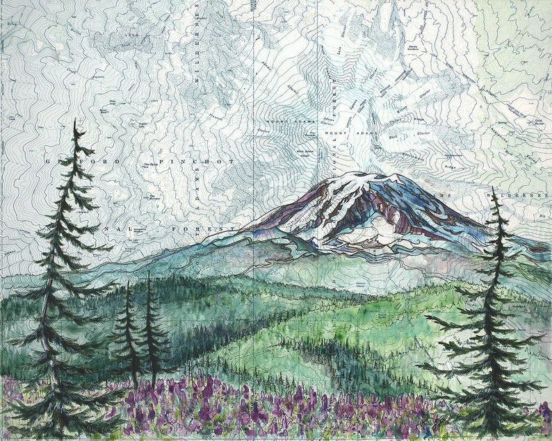 Mt Adams Washington Map.Mt Adams Summer Mount Adams Art Painting Print Mountain Etsy