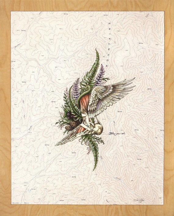Follow your Sole, winged foot art on topo map, Trail Runner painting,  Mountain Love, Ultra runner art, hiking illustration, anatomical foot