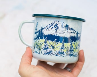 Mt Rainier Enamel Camping Mug, Mt Rainier National Park Washington enamel mug, 16oz PNW camper mug, fireproof backpacking cup coffee mug