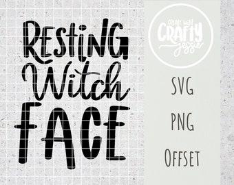 Resting Witch Face SVG Cut File Cricut Silhouette