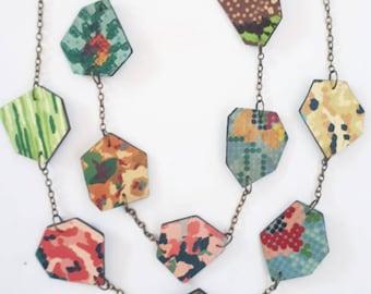 Geo Vintage Lino Necklace