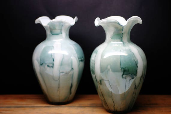 Arte Murano Linea Mary Pair Of Kristall Vases Made In Italy Etsy