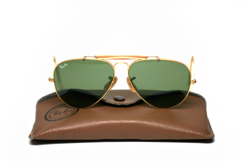 7adc20c2e1 Vintage Ray Ban Aviator Outdoorsman Sunglasses Gold Frame
