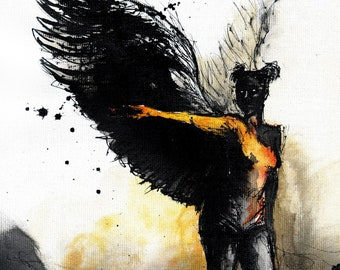 Original painting on canvas A4 (11x8 in) - wings