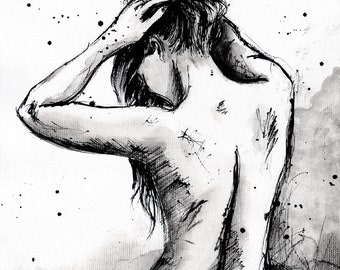PRINT Female nude figure sketch art print, 8x12, 16x12, 16x23 A4, A3, A2 select size, canvas sheet, showering woman- 8x11