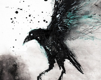 Original ink painting, raven art, 8x11 canvas, A4, abstract flying raven with cyan/turquoise accents