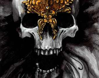 Skull drawing with a gold mask - Original painting on a paper sheet A4 (11,6x8,3in)