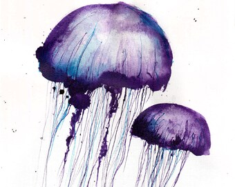 Jellyfish painting 8x12in, 21x30cm, A4 - canvas sheet -   purple jellyfish -  abstract biology art