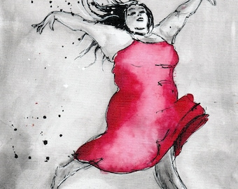 Female figure sketch art print, 8x12, 16x12, A4, A3, select size, canvas sheet, dancing woman w pink dress