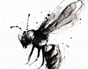 Print, 11.7x8.3 inches, fineart baryta paper  - abstract wasp ink sketch